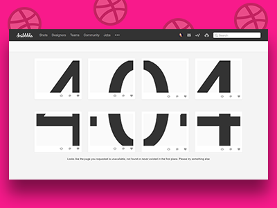 """Daily UI #008: 404 Page - """"Dribbble"""""""