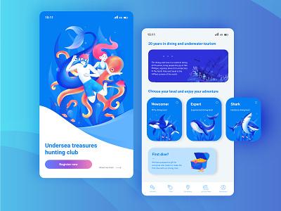 Enjoy Undersea tourism undersea interface watercolor water underwater diving app design app ux web ui design art vector graphic illustration