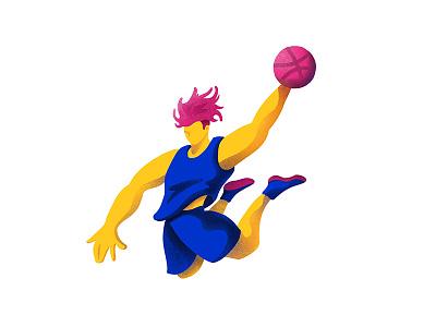 Hi Dribbble! slam dunk illustration basketball debut