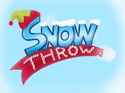 Snow Throw hand lettering christmas snow throw game logo elf hat logo snowball