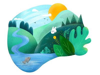 Part 1 - The Past kids illustration fish bunny foliage nature illustration