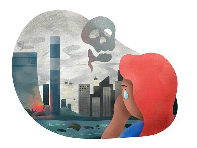 Part 2 - The Present city poison factory kids illustration illustration pollution present