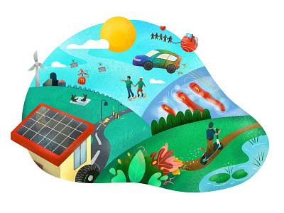 Part 3 - The Future rainbow car kids illustration drones flourish solar energy renewable energy mars future illustration