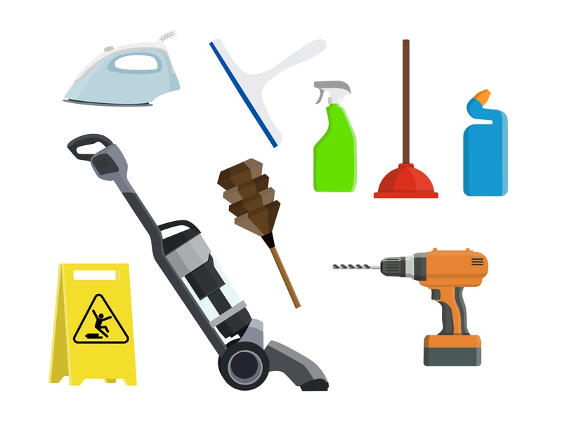 Handyman & Cleaning Icons icons 2d art illustrator cleaning vector art