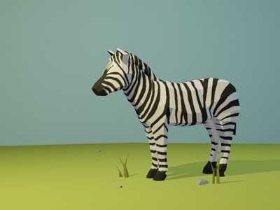 Low Poly Zebra low poly animal zebra blender 3d low poly