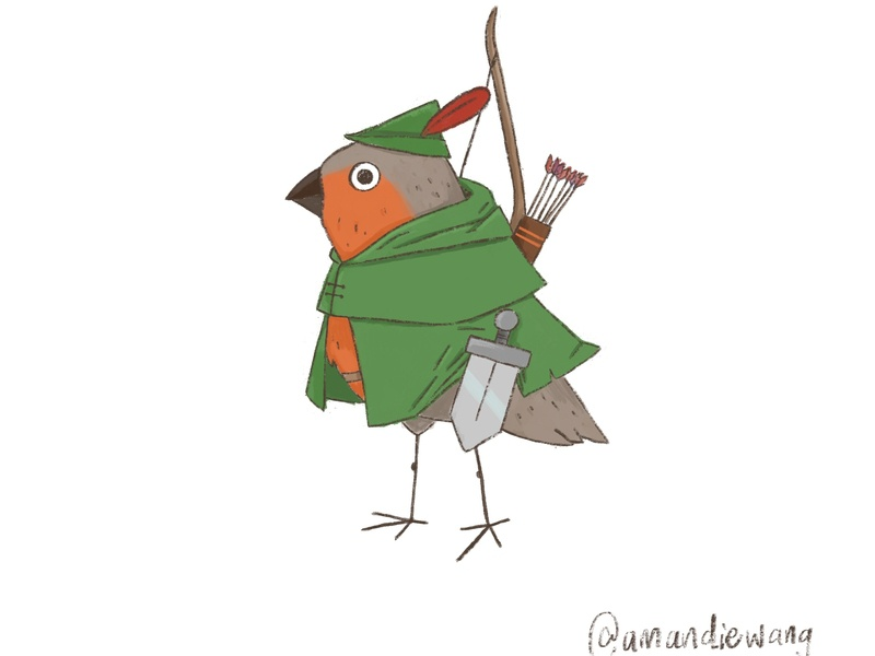 Robin Hood bird illustration procreate character design