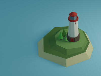 Low Poly Lighthouse 3d art blender low poly lighthouse