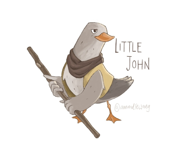 Little John character design bird little john robin hood sherwood