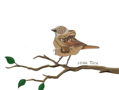 Friar Tuck as a dunnock friar tuck birds dunnock robin hood character design illustration