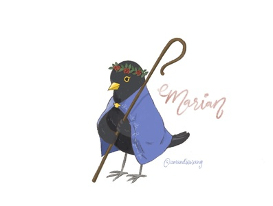Maid Marian as a blackbird