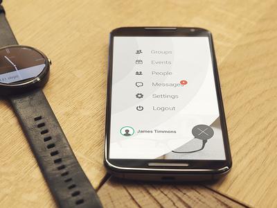 Circles side menu screen social network enterprise menu android menu clean interaction ux circle