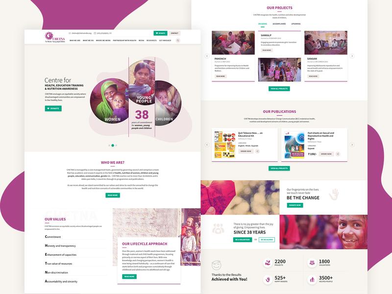 Chetna - NGO Website Redesign clean ui clean design ngo website design agency web ux ui design redesign