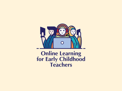 Online Learning for Early Childhood Teachers vector web art icon indonesian logo ui flat design character illustration