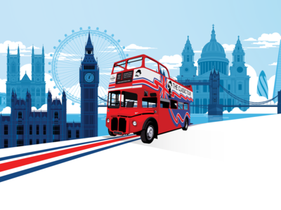 The Classic Tour gherkin tower bridge red bus big bus parliament big ben st pauls landmarks london routemaster bus website ux vector ui visual identity marianna orsho branding mariannaorsho illustration