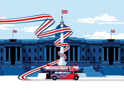 The Classic Tour webstie design landmarks tourism bus routemaster red bus big bus nelsons column london national gallery website ux vector ui design visual identity branding marianna orsho mariannaorsho illustration