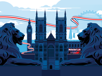 The Classic Tour union jack england red bus big bus westminster abbey london eye gherkin shard big ben trafalgar square lion lions vector ui design marianna orsho branding mariannaorsho illustration