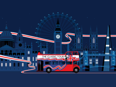The Classic Tour red bus big bus united kingdom england union jack ribbon london night classic tour tourism branding design visual identity illustration vector ux ui marianna orsho mariannaorsho