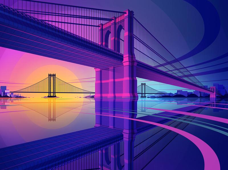 Affinity Designer | Sunset Bridge new york manhattan manhattan bridge brooklyn bridge brooklyn featured vector artist digitalart digital artist digital art vector vector art city skyline bridge sunset affinitydesigner affinity designer illustration marianna orsho