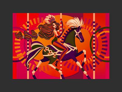 Merry-Go-Round amusement park ride amusement park theme park carousel merry go round girl horse character design vector illustration vector art illustration art raster vector digitalart marianna orsho mariannaorsho illustration