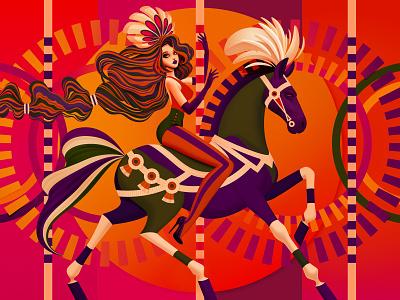 Merry-Go-Round (Crop) graphic art colourful digital illustration vector vector art digital art merry-go-round merry go round carousel amusement park ride fun park amusement park horse girl marianna orsho mariannaorsho illustration