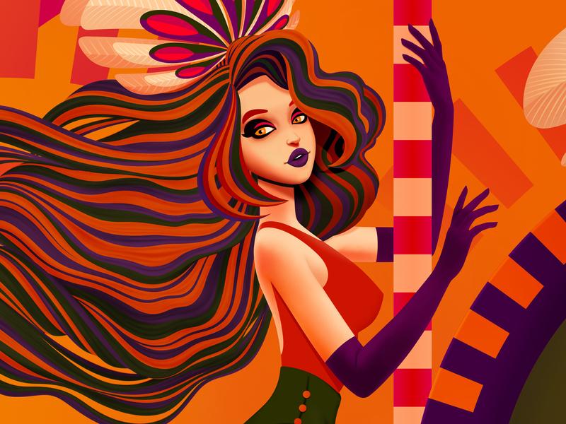 Detail from 'Merry-Go-Round' affinity designer vectorillustration vector carousel theme park amusement park horse girl marianna orsho mariannaorsho illustration
