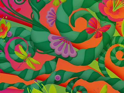 Details from 'Spring', 2020 vector art vector bugs floral flowers spring mariannaorsho illustration