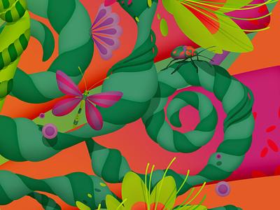Details from 'Spring', 2020 blah blah blah floral flowers spring bugs vector mariannaorsho illustration