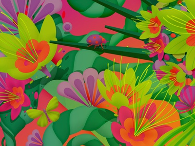 Details from 'Spring', 2020 illustrator universe bugs on drugs psychadelic floral flowers bug colourful colour seasons spring marianna orsho mariannaorsho illustration