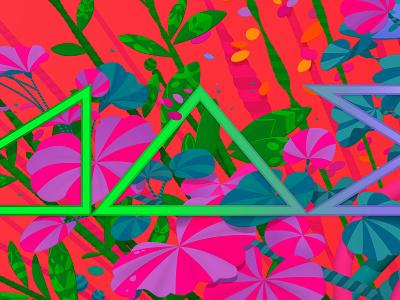 Detail from Adobe MAX Video Call Background #1: MAX adobe photoshop adobe illustrator digital garden garden plants nature psychadelic colourful floral video background video call video background adobe max 2020 adobe max adobe marianna orsho mariannaorsho illustration