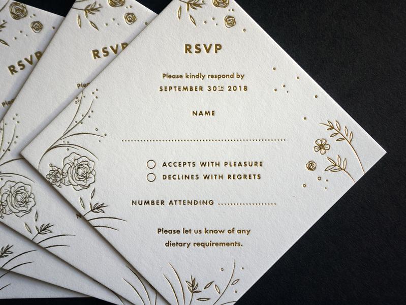 RSVP Cards wedding stationery weddings gold foil goldfoil rsvp wedding gold stationery layout design layoutdesign design