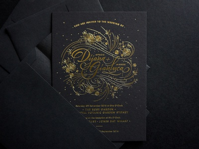 Wedding Invitations type lettering typography minimal clean sophisticated flowers botanical floral elegant gold and black gold foil gold wedding stationery stationery wedding invitation wedding invite weddings wedding card wedding