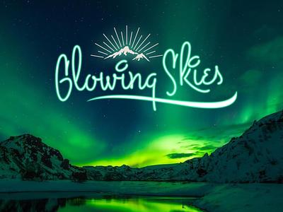 glowing skies design typography
