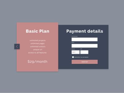 Daily UI :: 002 - Credit Card Checkout payment modal checkout credit card web app ui design ui