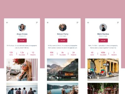 Daily UI :: 006 - User Profile photography app user profile ui design ui