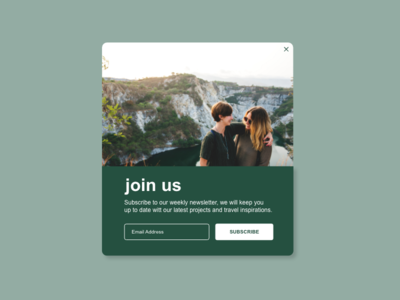 Daily UI :: 016 - Pop-Up subscribe blog travel popup daily ui challenge ui design