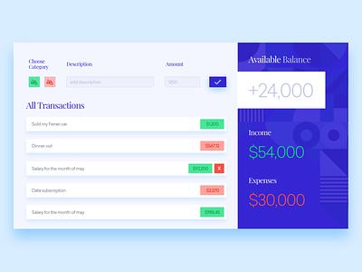 Budget Dashboard User Interface tracker expenses budget app debut ux ui shot design