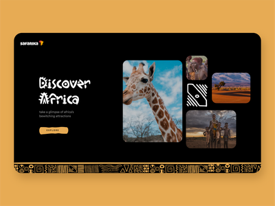 Safarika Adventure landing page africa interface creative clean minimal experience adventure travel uxui design ux vacation website design typography website
