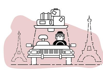 Traveling design linear line lineart vector illustration