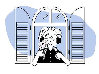 Ice Cream icecream simple illustration simple design lineart line vector animation illustration