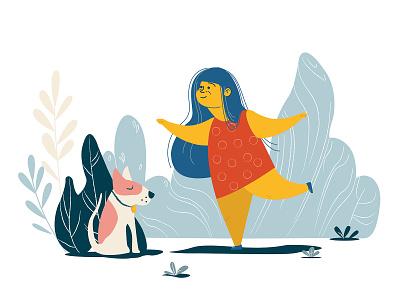 HER SISTER illustration graphic dog girl yoga character design vector illustration vectorart vector