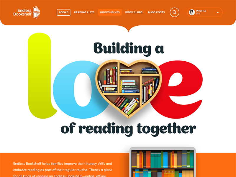 Intro Description For Endless Bookshelf Home Page Cta Layout Typography Responsive Web Design Landing