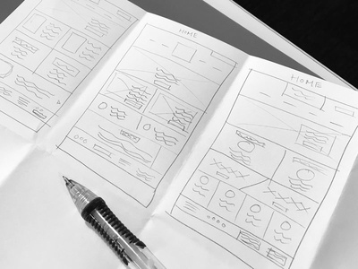 Intial Sketches for Website landing page pencil wireframe web sketch