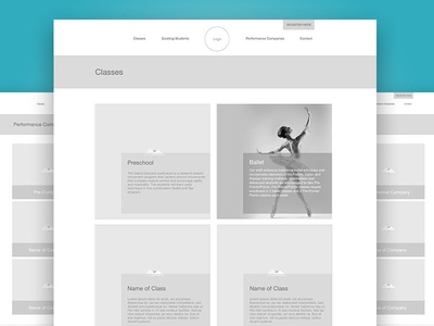 DMA Classes and Performance Company Wireframes web design desktop web website wireframe