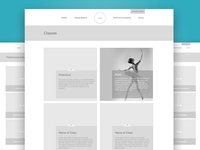DMA Classes and Performance Company Wireframes