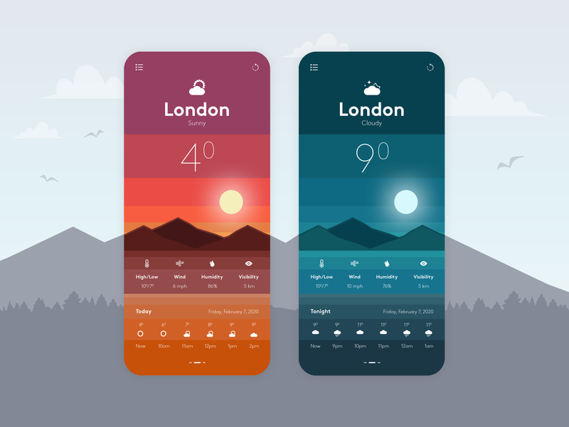 Weather Mobile App Design userinterface dark ui weather forecast weather app ui designer app designers dribbble photoshop app designer app concept app development app design design ui