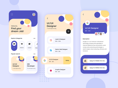 Job Portal Application Design mobile app design application development application design application ui ux design uidesign blue and white job application job portal job board app design photoshop dribbble app designer app concept ux ui app design app development