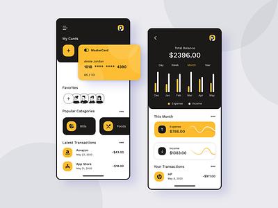 Finance Application dark mode dark ui black yellow ux app concept credit card debit card money management indians app designers ui design app development money app finance business finance app