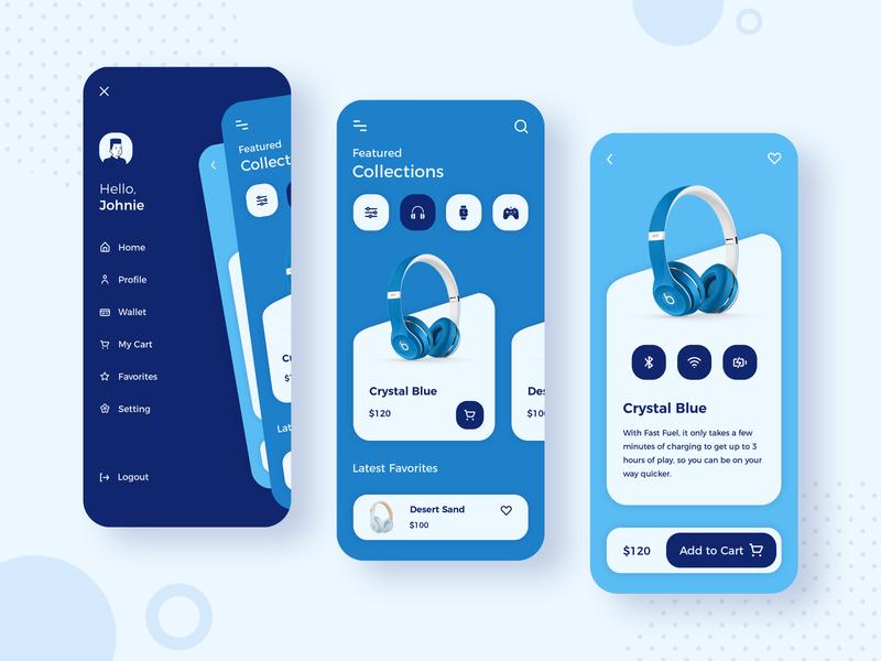 eCommerce App photoshop menu design online store shopping headphones ui designer india ecommerce shop blue and white app concept app development app design design ui