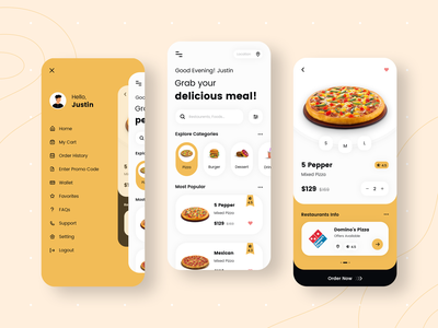 Food App Design white yellow restaurants restaurant app app designer ui ux app concept app development app design design food delivery application food app design food app ui food delivery app food delivery food app foodie