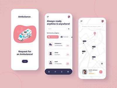 Ambulance App Design ux ui design app app designer app concept app design app development mobile app design ambulance app first aid kit medicine ambulance